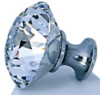 OVO® TEZ® Dali 40mm Clear Diamond Cut Crystal Knob Handle - Silver Glazed